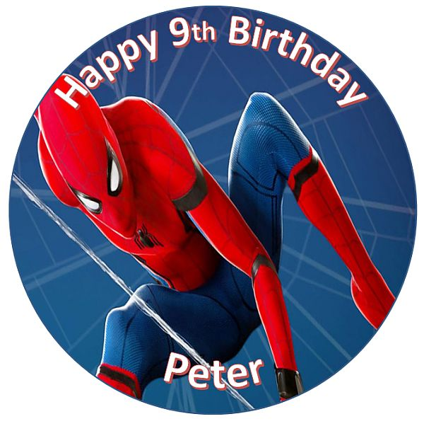 Prime Spiderman Edible Round Cake Topper Personalised Cakeoholix Funny Birthday Cards Online Unhofree Goldxyz
