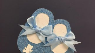 Cakeoholix Glitter Baby Boots Blue Topper