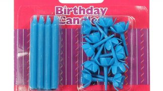 CULPITT 12 blue candles & holders