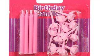 CULPITT 12 pink candles & holders