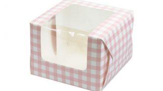 Pink gingham single cupcake-muffin box