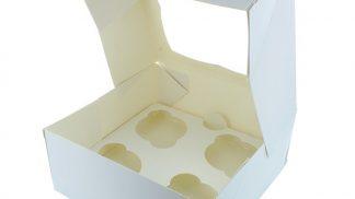 White 4 cupcake-muffin box