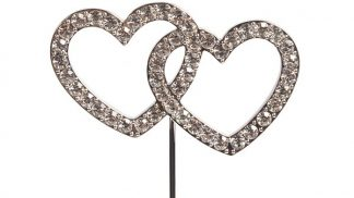 Diamante entwined hearts cake topper